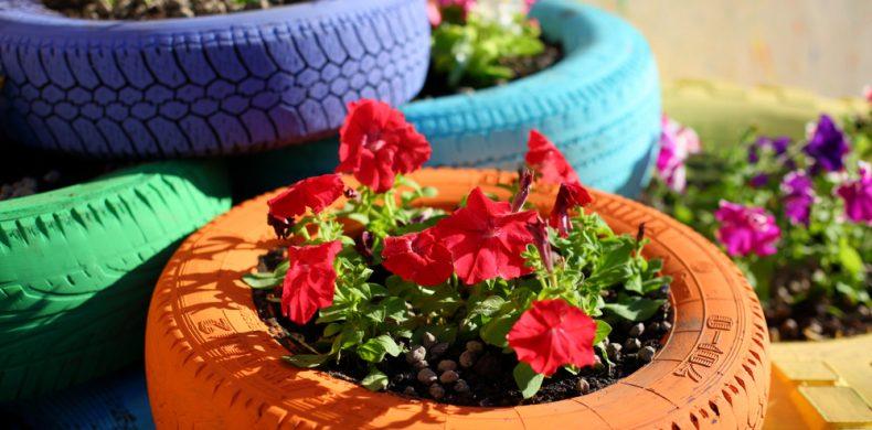 Cum transformi cauciucurile vechi în ornamente pentru flori și grădină – idei creative